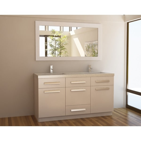 Design Element Moscony White 60 Inch Double Sink Vanity Set