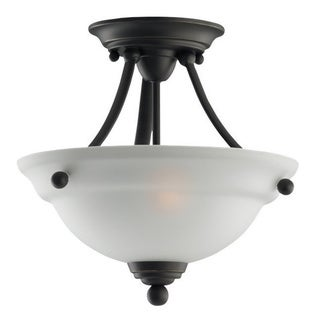 Wheaton Semi-Flush Heirloom Bronze Convertible Light Fixture and Satin Etched Glass Shade