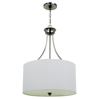 Stirling Brushed Nickel 3-light Pendant and White Linen Shade