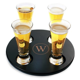 Personalized Round Beer Flight Sampler Glass Set (Set of 4)