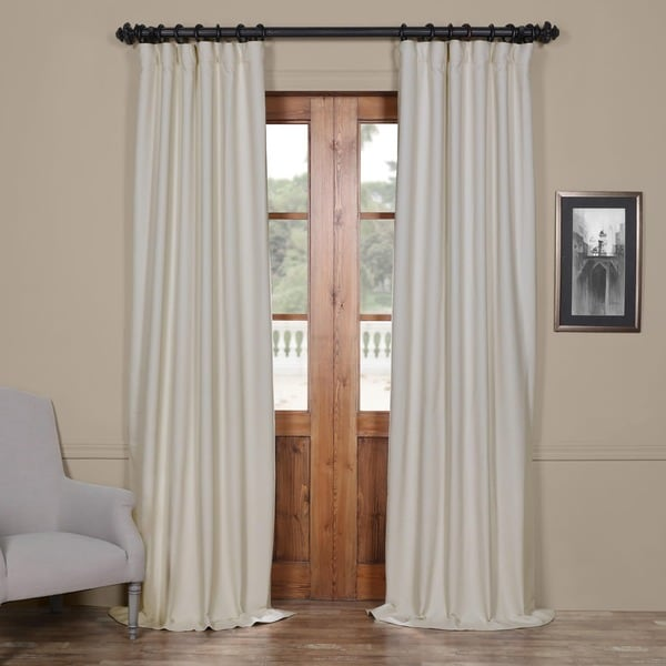 Exclusive Fabrics Cottage White Bellino Single Panel Blackout Curtain