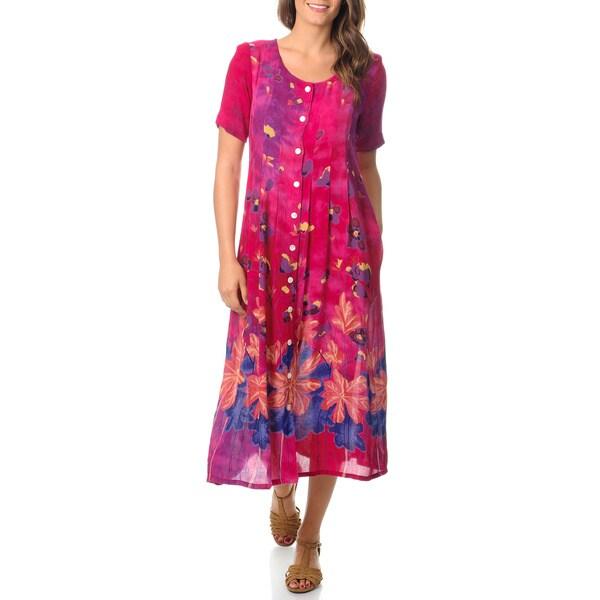 La Cera Women's Border Print Button Front Pleated Raspberry Dress