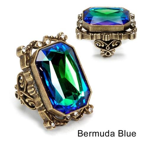 Sweet Romance Octagon Crystal Statement Ring