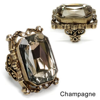 Sweet Romance Octagon Crystal Statement Ring