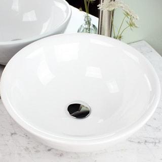 Highpoint Collection White 17-inch Round Ceramic Bathroom Vessel Sink