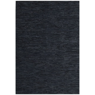 Hand-woven Black Leather Rug (5' x 8')