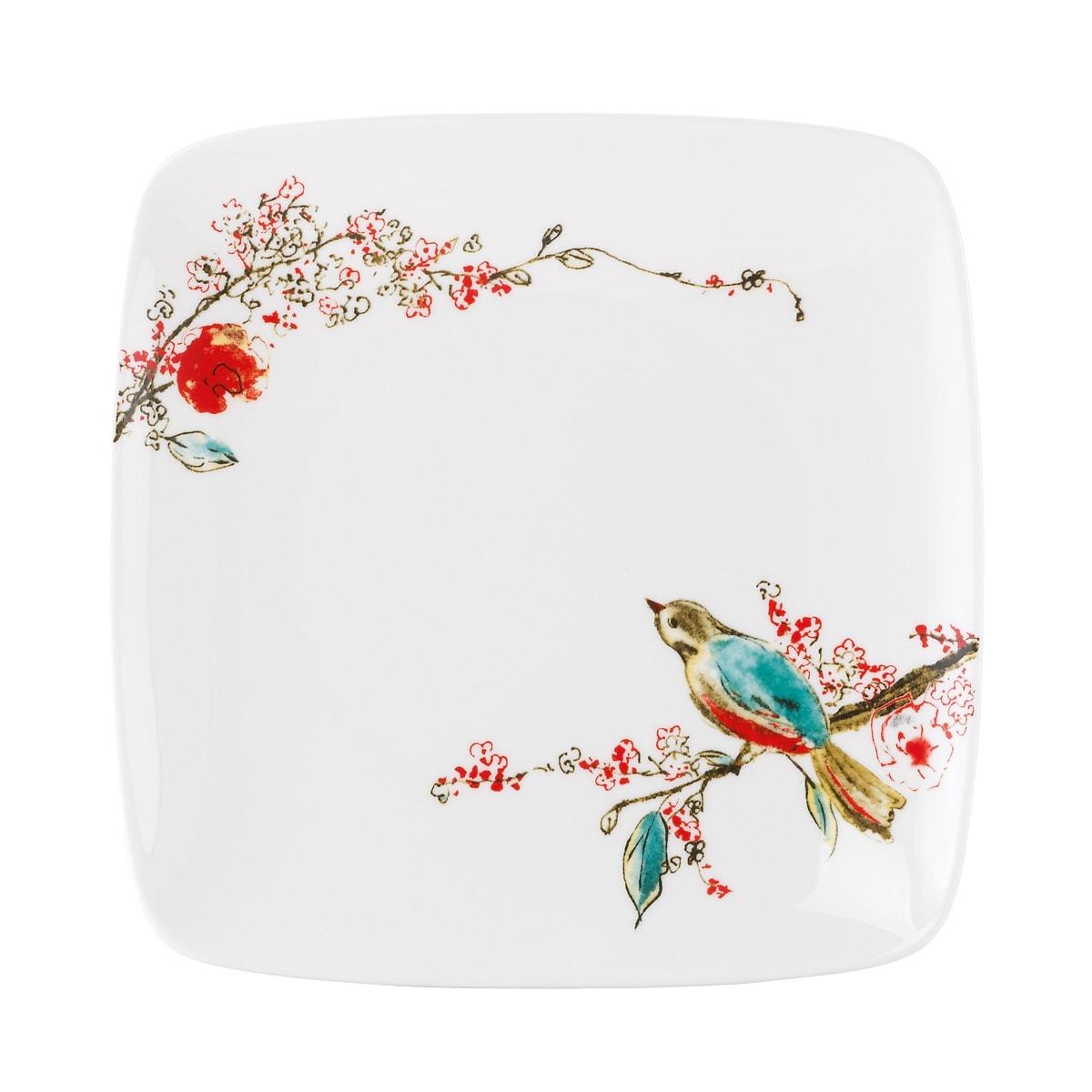 Lenox Chirp' Square Accent Plate, Multi (Bone China, Floral)
