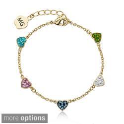 Molly Glitz 14k Gold Overlay Children's Crystal Heart Chain Bracelet|https://ak1.ostkcdn.com/images/products/8323015/Molly-Glitz-14k-Gold-Overlay-Childrens-Crystal-Heart-Chain-Bracelet-P15636861.jpg?impolicy=medium
