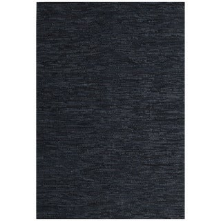 Hand-woven Black Leather Rug (6' x 9')