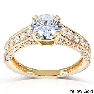 Annello by Kobelli 14k Gold Round-cut Moissanite and 1/2ct TDW Diamond Engagement Ring (G