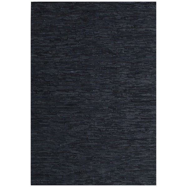 Hand-woven Black Leather Rug (8' x 11') - 8' x 11'