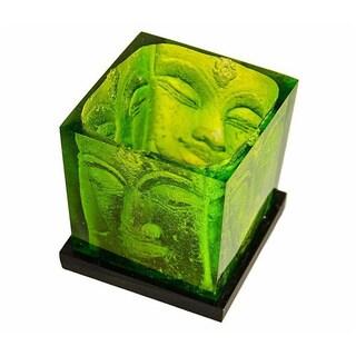 Green Glass Buddha Candle Holder