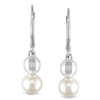 Miadora Sterling Silver Freshwater White Pearl Dangle Earrings (6.5-7 mm)