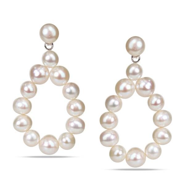 Miadora Sterling Silver Freshwater White Pearl Teardrop Earrings (7-8 mm)
