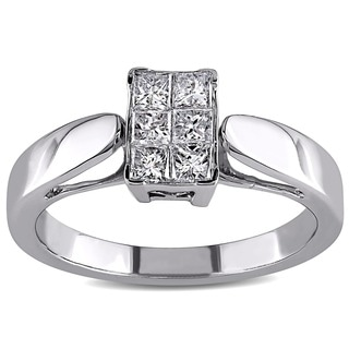 Miadora 14k White Gold 1/2ct TDW Princess-cut Diamond Ring