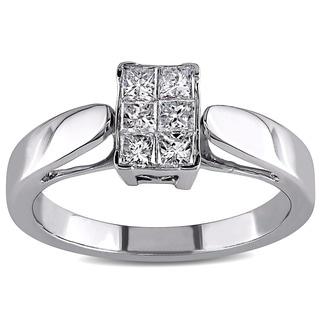 Miadora 14k White Gold 1/2ct TDW Princess-cut Diamond Ring