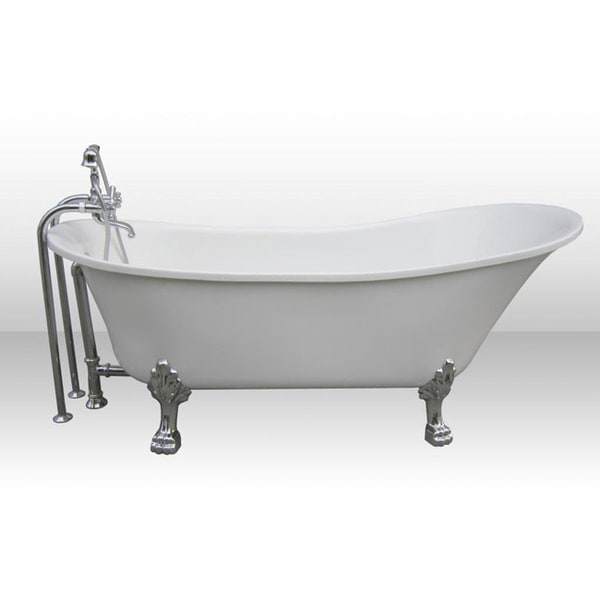 Dorya Pure Acrylic 69 Inch All In One Clawfoot Tub Kit Free Astonishing  Black And White Photos Best Inspiration.