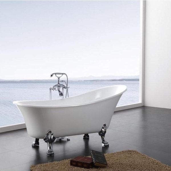 Dorya Pure Acrylic 69-Inch All-in-One Clawfoot Tub Kit - Free ...