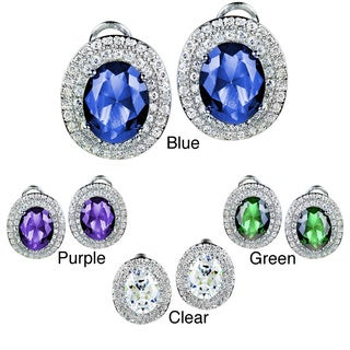ELYA Sterling Silver Cubic Zirconia Double Halo Earrings