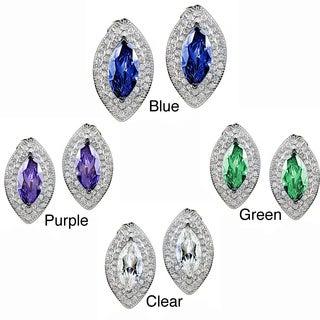 ELYA Sterling Silver Marquise-cut CZ Double Halo Earrings