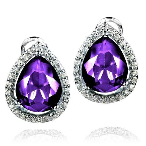ELYA Sterling Silver Pear-Cut CZ Double Halo Earrings