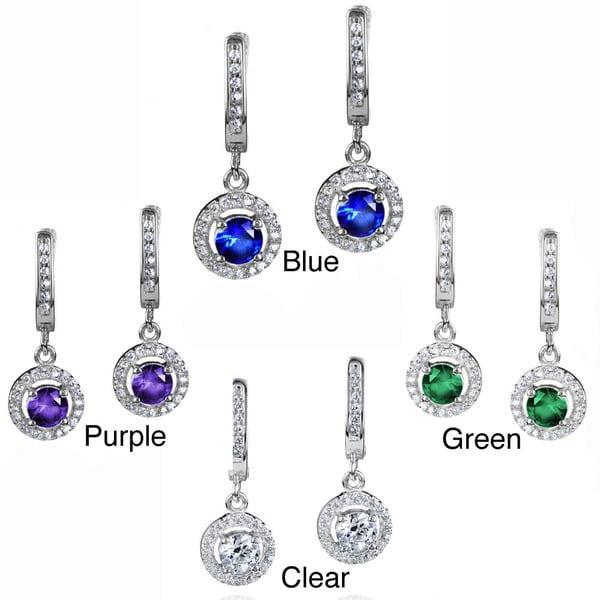 ELYA Sterling Silver Round-cut CZ Halo Dangle Earrings