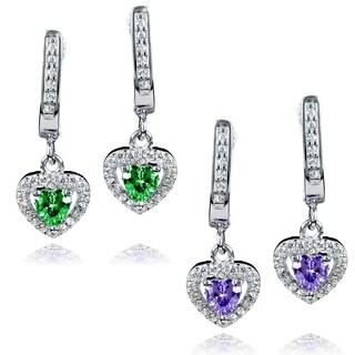 ELYA Sterling Silver Heart-cut CZ Halo Dangle Earrings (3 options available)