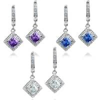 ELYA Sterling Silver Cushion-cut CZ Halo Dangle Earrings