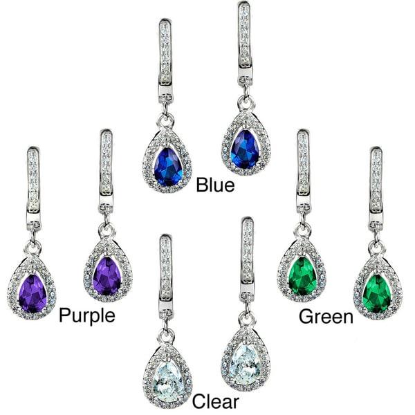 ELYA Sterling Silver Pear-cut CZ Halo Dangle Earrings
