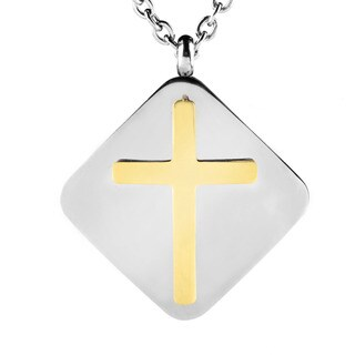 ELYA Stainless Steel Two-tone Layered Shield Cross Necklace