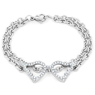 ELYA Stainless Steel Cubic Zirconia Wing Double Chain Bracelet
