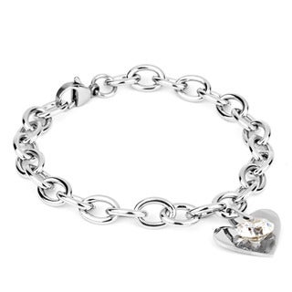 Stainless Steel Cubic Zirconia Heart Charm Bracelet
