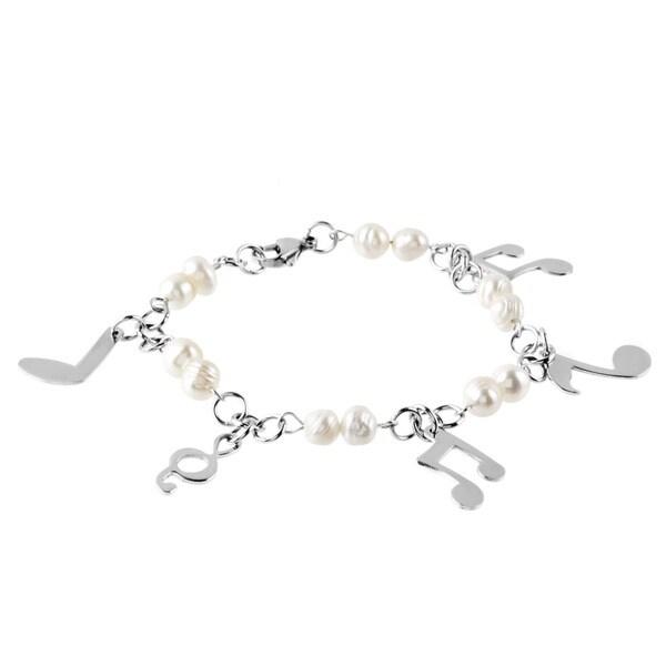 ELYA Stainless Steel FW Pearl Music Note Bracelet (6-7 mm)