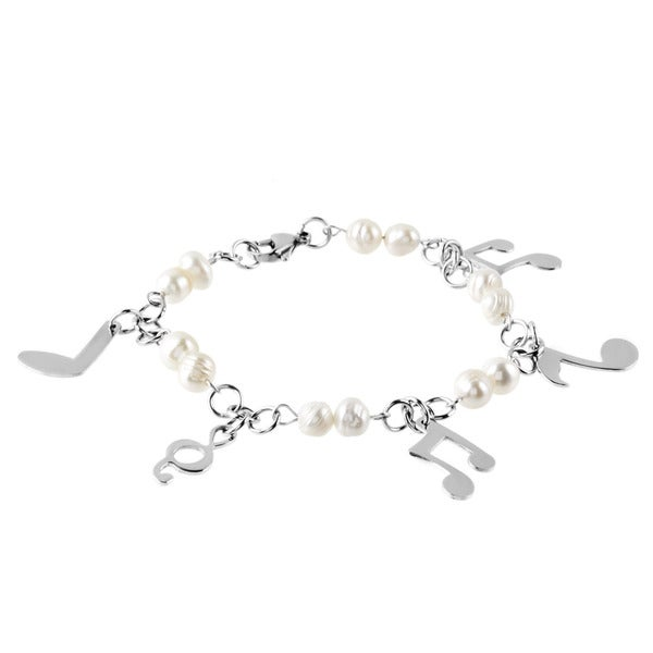 ELYA Stainless Steel FW Pearl Music Note Bracelet (6.5-7 mm) - Silver
