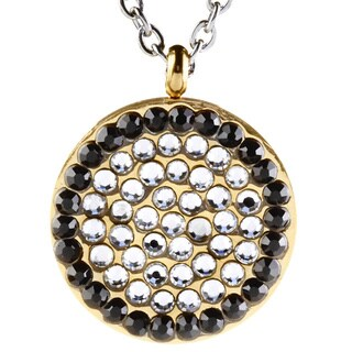 ELYA Goldplated Steel Black and Clear CZ Circle Necklace