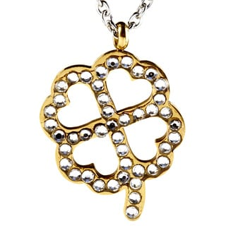 ELYA Goldplated Stainless Steel Cubic Zirconia Clover Necklace