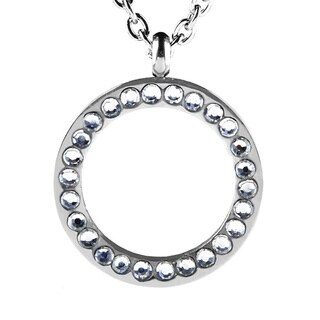 ELYA Stainless Steel Cubic Zirconia Open Circle Necklace