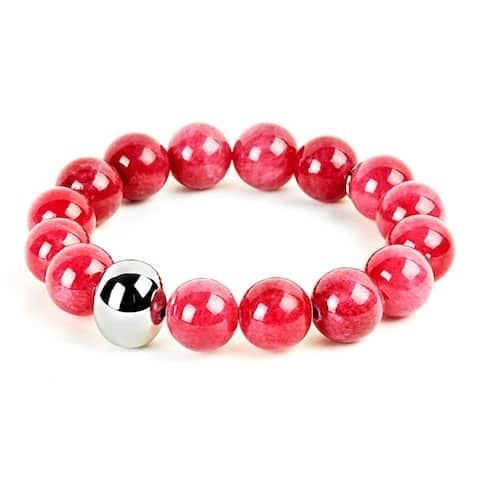 ELYA Stainless Steel and Dyed Jade Bead Stretch Bracelet - 7 Inches