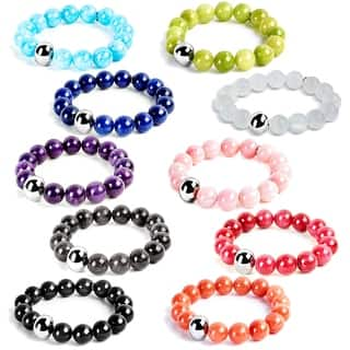 ELYA Stainless Steel and Dyed Jade Bead Stretch Bracelet (Option: Purple)|https://ak1.ostkcdn.com/images/products/8323433/P15637193.jpg?impolicy=medium