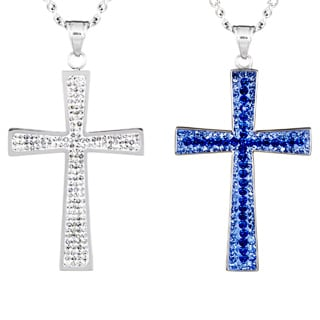 Stainless Steel Crystal Large Cross Necklace