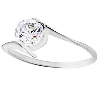 Stainless Steel Round Cubic Zirconia Solitaire Ring - Silver