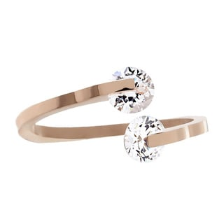 Cubic Zirconia Rose Gold High Polish Mirror Finish Bypass Stainless Steel Ring - 2mm Wide