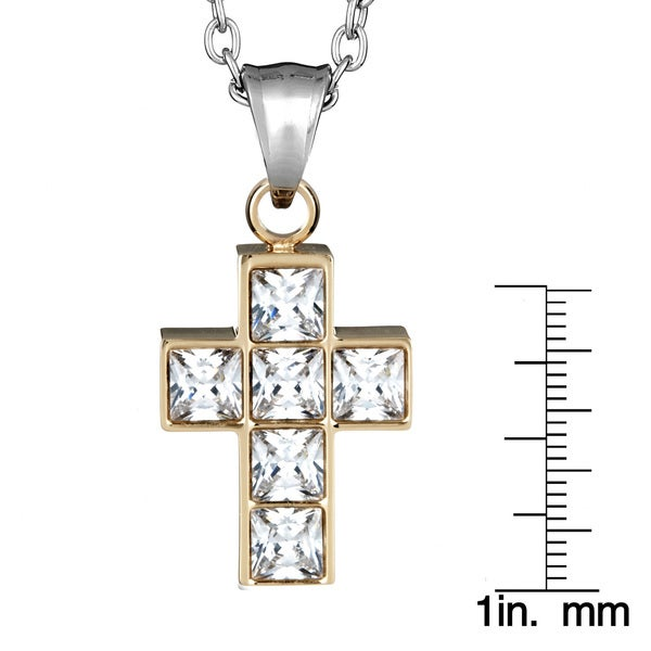 Stainless Steel Princess-cut Cubic Zirconia Cross Necklace