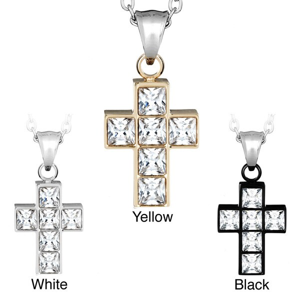 Stainless Steel Princess-cut Cubic Zirconia Cross Necklace. Opens flyout.