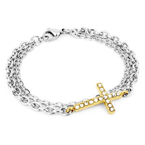 ELYA Two-Tone Stainless Steel Crystal Sideways Cross Bracelet - White