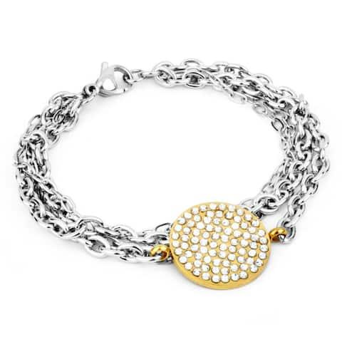 ELYA Goldplated Stainless Steel Crystal Circle Chain Bracelet