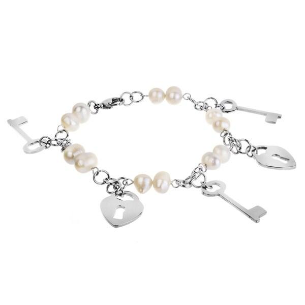 ELYA Steel Freshwater Pearl Heart Lock and Key Bracelet (7-8 mm)