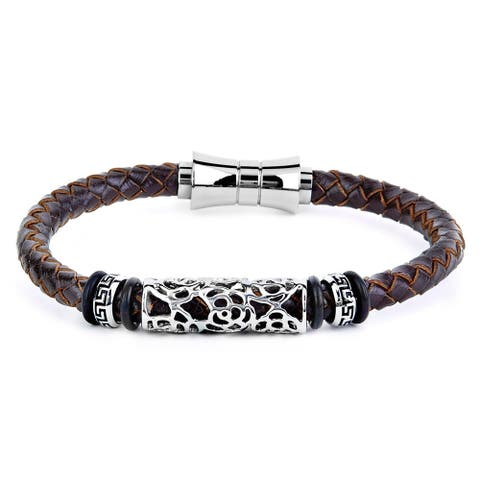 Crucible Brown Braided Leather and Stainless Steel Bracelet