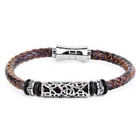 Crucible Men's Brown Leather and Stainless Steel Braided Bracelet