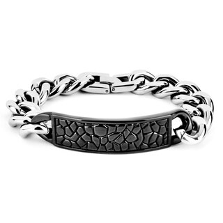 Crucible Men's Stainless Steel Reptile Texture ID Bracelet